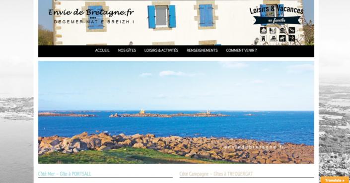 site de réservation pour un des gîtes en Bretagne